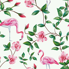 flamingo and branch roses seamless white background