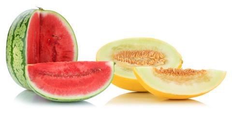 Melonen Honigmelone Wassermelone geschnitten tropisch Früchte Frucht Obst Sommer Freisteller freigestellt isoliert