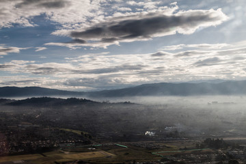 Misty morning aerial view of Bogota, capital of Colombia