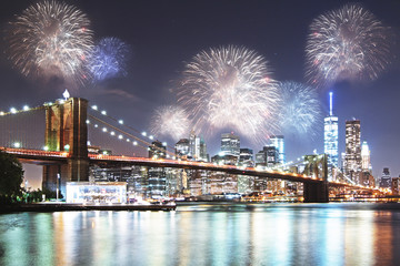 Night city with fireworks background