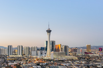 Printed roller blinds Las Vegas Las Vegas skyline at sunrise.