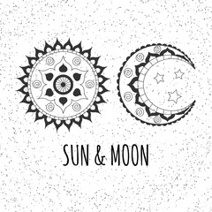 Vector hand drawn sun and moon on abstract dots background