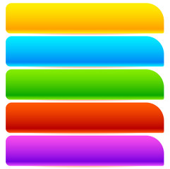 Button, banner shapes, backgrounds. Abstract tags, labels. Colorful rectangular shapes