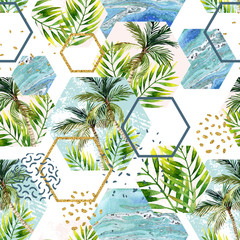 Watercolor tropical leaves and palm trees in geometric shapes seamless pattern