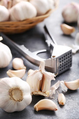 Garlic on the grey wooden table