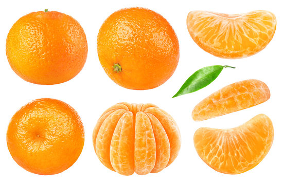 Isolated citrus collection. Whole tangerines or mandarin orange fruits and peeled segments isolated on white background with clipping path