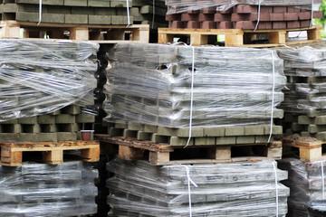 pallets of new concrete blocks