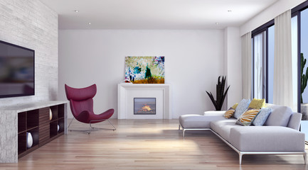 Modern living room. 3D rendering