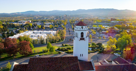 Clock tower of train depot and Boise Skyline