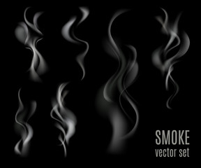 Realistic transparent smoke set isolated on black background. Cigarette smoke collection. Vector illustration