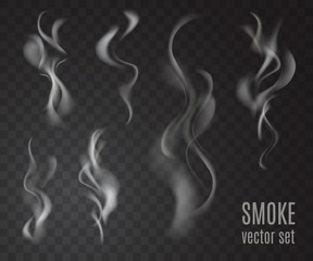 Realistic transparent smoke set isolated on transparent background. Cigarette smoke collection. Vector illustration