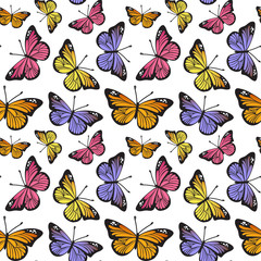 Butterfly seamless hand drawn pattern. Cute cartoon insects isolated on white background. Vector illustration