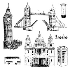 London symbols: St. Paul Cathedral, Big Ben and Tower Bridge. Beautiful hand drawn vector sketch illustration.