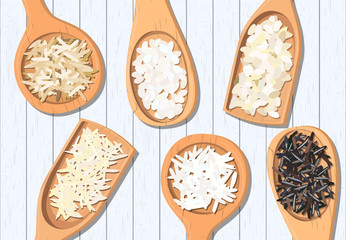 Different types of rice in wooden spoons. Basmati, wild, jasmine, long brown, arborio, sushi