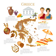 Ancient Greece and Ancient Rome infographics. sights, culture, traditions, map, ancient greece people. Template elements