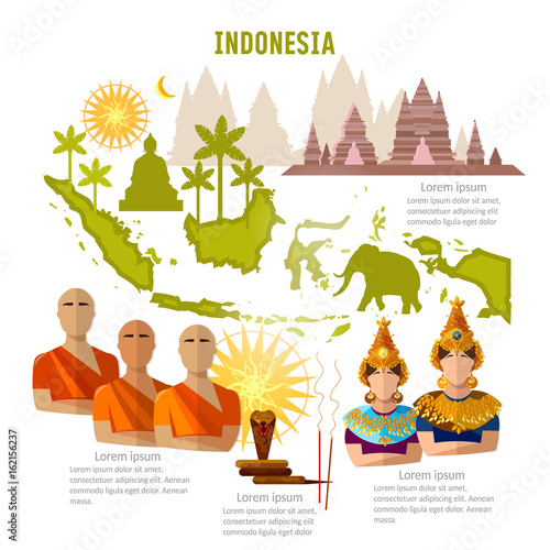 quot;Indonesia infographics. sights, culture, traditions, map, people. Indonesian template elements
