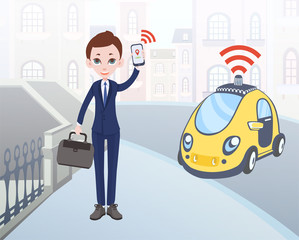 Man ordering driverless taxi using mobile application. Cartoon businessman character with smartphone in hand and car on city street background. Vector illustration.