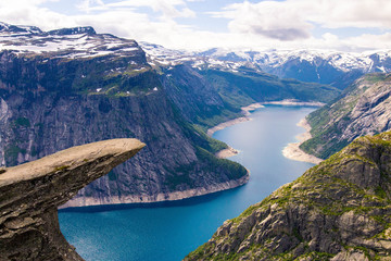 Tuinposter Scandinavië Beautiful landscape at Trolltunga (Troll's Tongue) in Norway