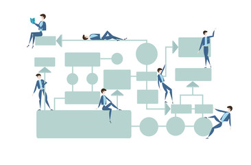 Business flowchart, process management diagram with businessmans characters. Vector illustration, isolated on white background.