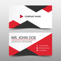 Red triangle corporate business card, name card template ,horizontal simple clean layout design template , Business banner template for website