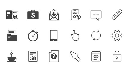 Office, documents and business icons. Accounting, human resources and phone signs. Mail, salary and statistics symbols. Chat, Report and Calendar line signs. Service, Pencil and Locker icons. Vector