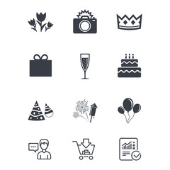 Party celebration, birthday icons. Fireworks, air balloon and champagne glass signs. Gift box, flowers and photo camera symbols. Customer service, Shopping cart and Report line signs. Vector