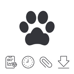 Dog paw sign icon. Pets symbol. Report, Time and Download line signs. Paper Clip linear icon. Vector