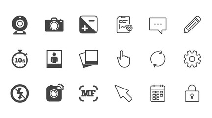 Photo, video icons. Web camera, photos and frame signs. No flash, timer and portrait symbols. Chat, Report and Calendar line signs. Service, Pencil and Locker icons. Click, Rotation and Cursor. Vector