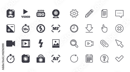 Set Of Photo And Video Icons Camera Timer And Frame Signs No
