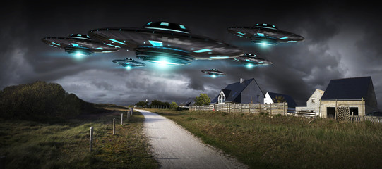 Foto auf Gartenposter UFO UFO invasion on planet earth landascape 3D rendering
