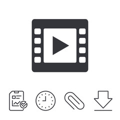 Video sign icon. Video frame symbol. Report, Time and Download line signs. Paper Clip linear icon. Vector