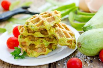 Zucchini waffle, zucchini fritters, vegetarian zucchini pancakes