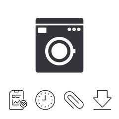 Washing machine icon. Home appliances symbol. Report, Time and Download line signs. Paper Clip linear icon. Vector