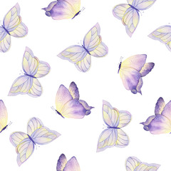 Watercolor butterfly seamless pattern