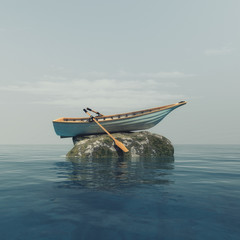A boat on a stone