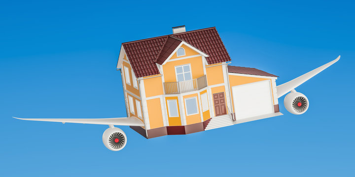 House with wings flying in the sky. Comfortable travel concept, 3D rendering