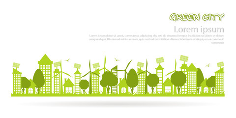 the concept of a green city with a clean environment and space for text template