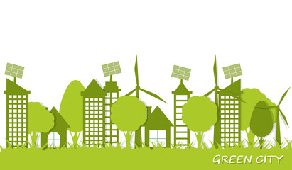 A city with a clean environment, windmills and solar panels