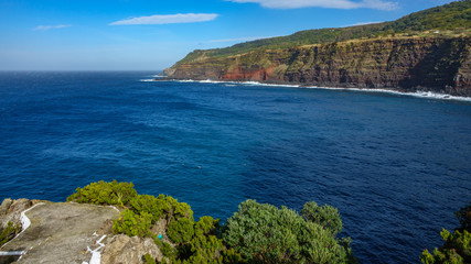 Viewpoint over volcanic coastline in Terceira