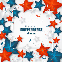 USA independence day. Holiday background with frame, 3d stars and confetti. Vector illustration.