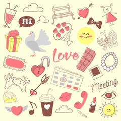 Love Romance Hand Drawn Doodle with Hearts, Lipstick and Romantic Elements. Vector illustration