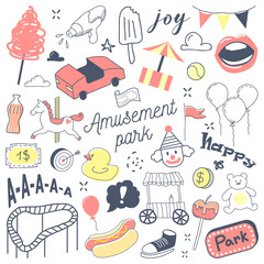 Amusement Park Freehand Hand Drawn Doodle with Clown, Attractions and Carousel. Vector illustration