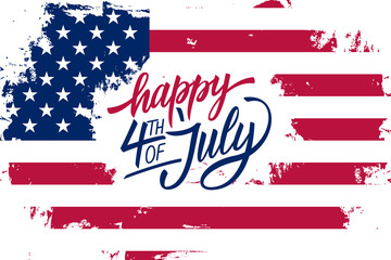 Happy 4th of July Independence Day greeting card with american flag brush stroke background and hand lettering text design. Vector illustration.