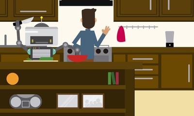 Domestic robot helping his owner at kitchen. Personal robot preparing breakfast futuristic concept illustration vector.