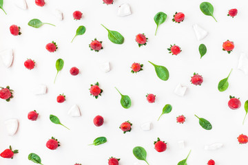 Fresh strawberry and coconut on white background. Fruit pattern. Summer concept. Flat lay, top view