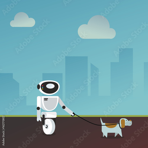 Domestic robot walking the dog  Personal robot assistance
