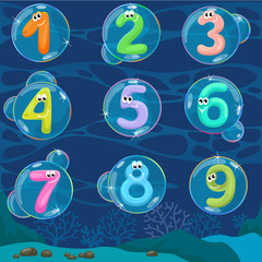 Round bubbles in water with numbers in them / Flat view bubbles under the water