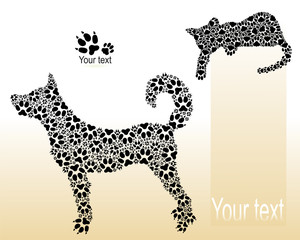 Silhouettes of cat and dog from traces of paws.