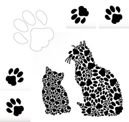 Silhouettes of cat and kitten of traces of cat paws.