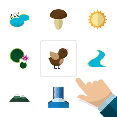 Flat Icon Ecology Set Of Tributary, Peak, Lotus And Other Vector Objects. Also Includes Peak, Lake, Lily Elements.